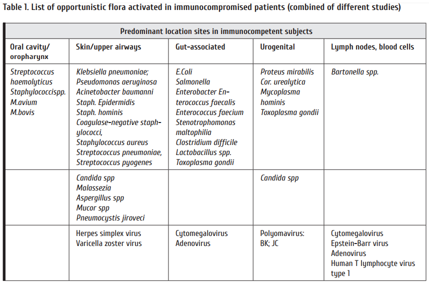 Table_1_List_of_opportunistic_flora_activated_in_immunocompromised_patients_combined_of_different_studies.png